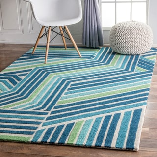 nuLOOM Handmade by Thomas Paul Stripe Blue Rug (4' x 6')