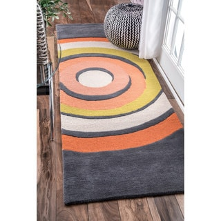 nuLOOM Handmade by Thomas Paul Circles Orange Runner Rug (2'8 x 8')
