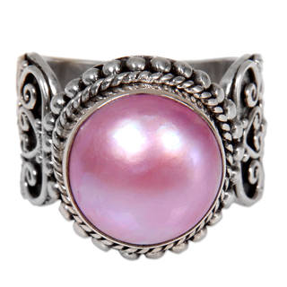 Handcrafted Sterling Silver 'Purely Pink' Cultured Pearl Ring (13 mm) (Indonesia)