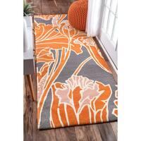 nuLOOM Handmade by Thomas Paul Floral Orange Runner Rug (2'8 x 8')