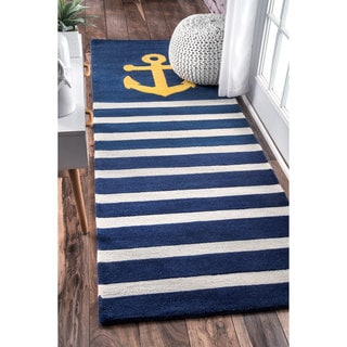 nuLOOM Handmade by Thomas Paul Anchor Nautical Stripe Navy Runner Rug (2'8 x 8')