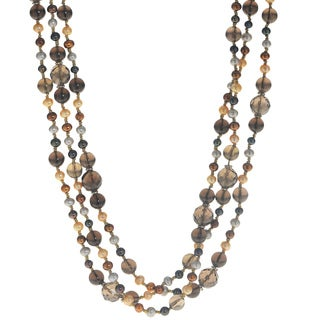 Pearls For You Gold-over-Silver Freshwater Pearl and Smokey Quartz Necklace