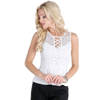 NikiBiki Women's Off-white Lace Peplum Top