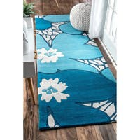 "nuLOOM Handmade by Thomas Paul Floral Blue Runner Rug (2'8 x 8') - 2'8"" x 8'"