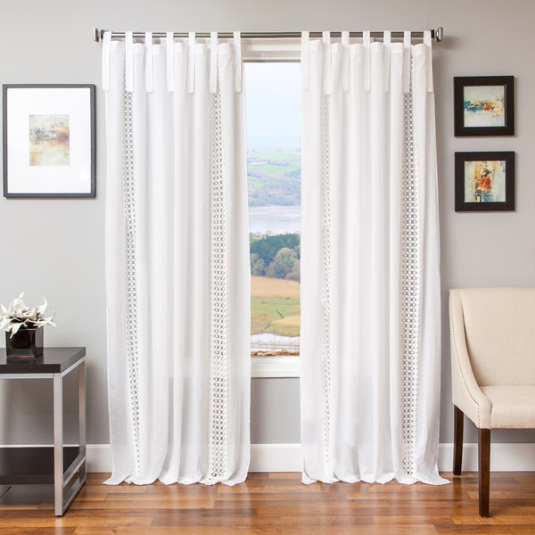 Shop Tie Tab Cotton And Linen Macrame Curtain Panel 96 Quot In