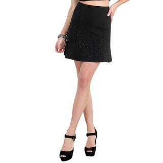 Nikibiki Women's Black Spandex Rhinestone Bottom-up Skirt