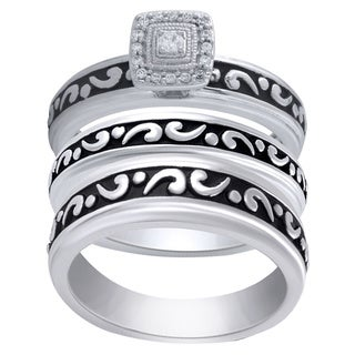 Sterling Silver Diamond Accent Engagement and Wedding Ring Set
