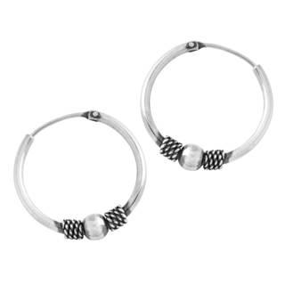 Women's Sterling Silver Bali-style Beaded Hoop Earrings