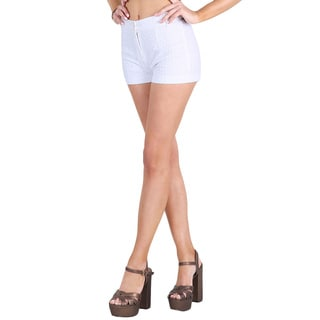 Nikibiki Women's White Cotton Flat-front Shorts