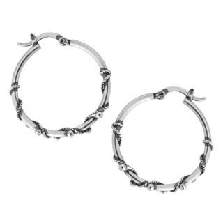 Sterling Silver Beaded Vine Hoop Earrings