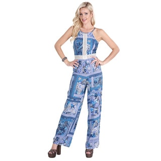 NikiBiki Women's Blue Rayon Crisscross Back Jumpsuit