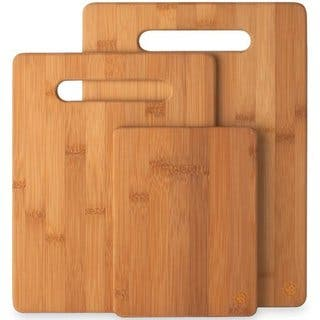 Bambusi Cutting Board Set, 3-Piece Chopping & Serving Tray
