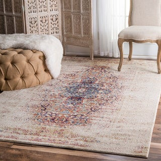 nuLOOM Vintage Persian Distressed Ivory Rug (5'3 x 7'7)