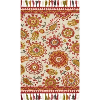 Hand-hooked Lena Floral Paisley Rug (2'3 x 3'9)