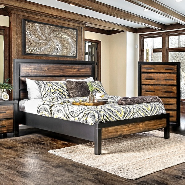 Oak Bed Bedroom Black And White Wall Bedroom Ideas Navy Blue Bedroom Inspiration Bedroom With Cathedral Ceiling: Shop Furniture Of America Marson Rustic Two-Tone Black/Oak