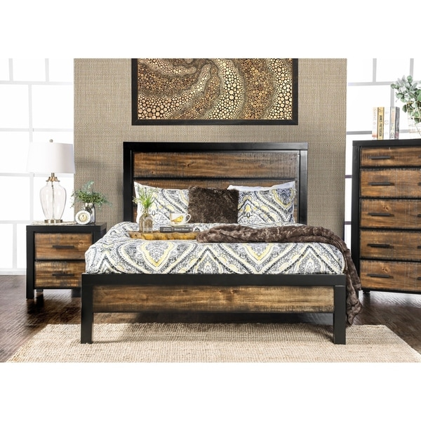 Furniture of America Nown Rustic Oak Solid Wood Platform Bed