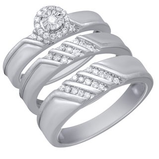 Sterling Silver 1/3CTtw Diamond Engagement and Wedding Ring Set