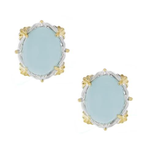 One-of-a-kind Gems en Vogue Oval Cabocho Opaque Aquamarine Stud Earrings
