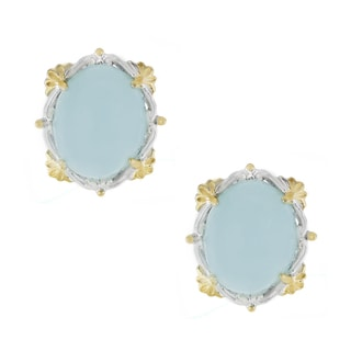 One-of-a-kind Michael Valitutti Oval Cabocho Opaque Aquamarine Stud Earrings