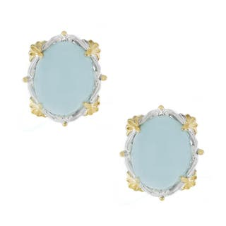 One-of-a-kind Michael Valitutti Oval Cabocho Opaque Aquamarine Stud Earrings|https://ak1.ostkcdn.com/images/products/12634619/P19426538.jpg?impolicy=medium