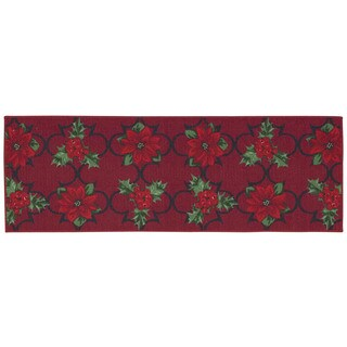 Nourison Essential Elements Poinsettia Red Accent Rug (1'8 x 4'11)