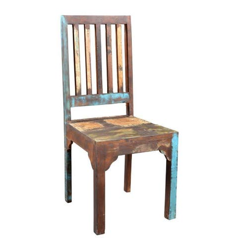 "Timbergirl Reclaimed Wood Rustic Multicolor Chair -Set of 2 - 40""H x 18""W x 18""L"