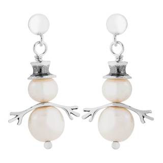 Sterling Silver Pearl Snowman Earrings