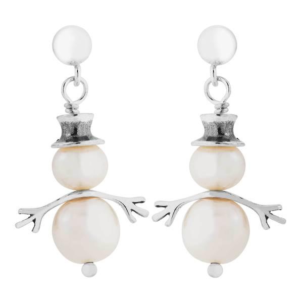 Sterling Silver Pearl Snowman Earrings