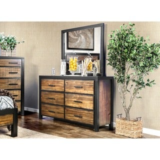 Furniture of America Marson Rustic 2-piece Two-Tone Black/Oak Dresser and Mirror Set