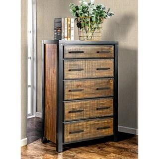 Furniture of America Marson Rustic Two-Tone Black/Oak 5-drawer Chest
