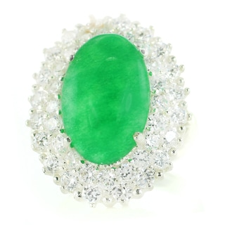 One-of-a-kind Michael Valitutti Green Jadeite with Cubic Zirconia Cocktail Ring