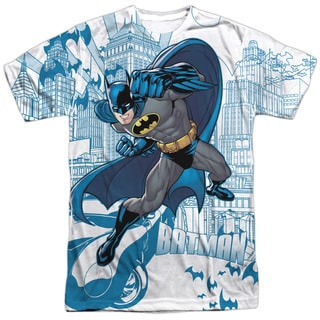 Batman/Skyline All Over Short Sleeve Adult 100% Poly Crew in White