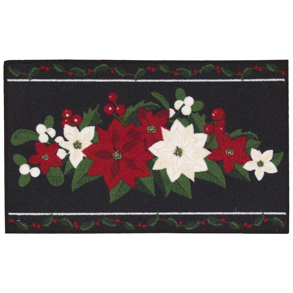 Nourison Essential Elements Poinsettia Black Accent Rug (1'5 x 2'4) - 1'5 x 2'4