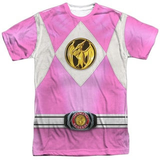 Power Rangers/Pink Ranger Emblem (Front/Back Print) Short Sleeve Adult Poly Crew in White