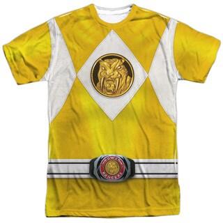 Power Rangers/Yellow Ranger Emblem Short Sleeve Adult Poly Crew in White