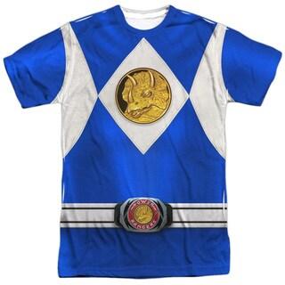 Power Rangers/Blue Ranger Emblem (Front/Back Print) Short Sleeve Adult Poly Crew in White