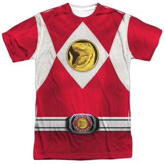 Power Rangers/Red Ranger Emblem (Front/Back Print) Short Sleeve Adult Poly Crew in White