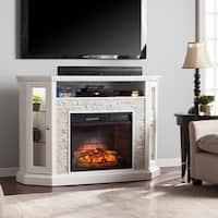 Harper Blvd Ratner Faux Stone Corner Convertible Electric Media Fireplace