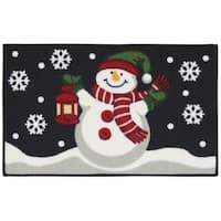 "Nourison Essential Elements Snowman/Lantern Black Accent Rug - 1'6"" x 2'3"""