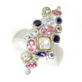 One-of-a-kind Michael Valitutti African Amethyst with White and Pink Cubic Zirconia Cocktail Ring