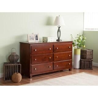 Atlantic Walnut Wood 6-drawer 54-inch Dresser