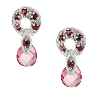 One-of-a-kind Michael Valitutti 14k White Gold Pink Sapphire Stud Earrings