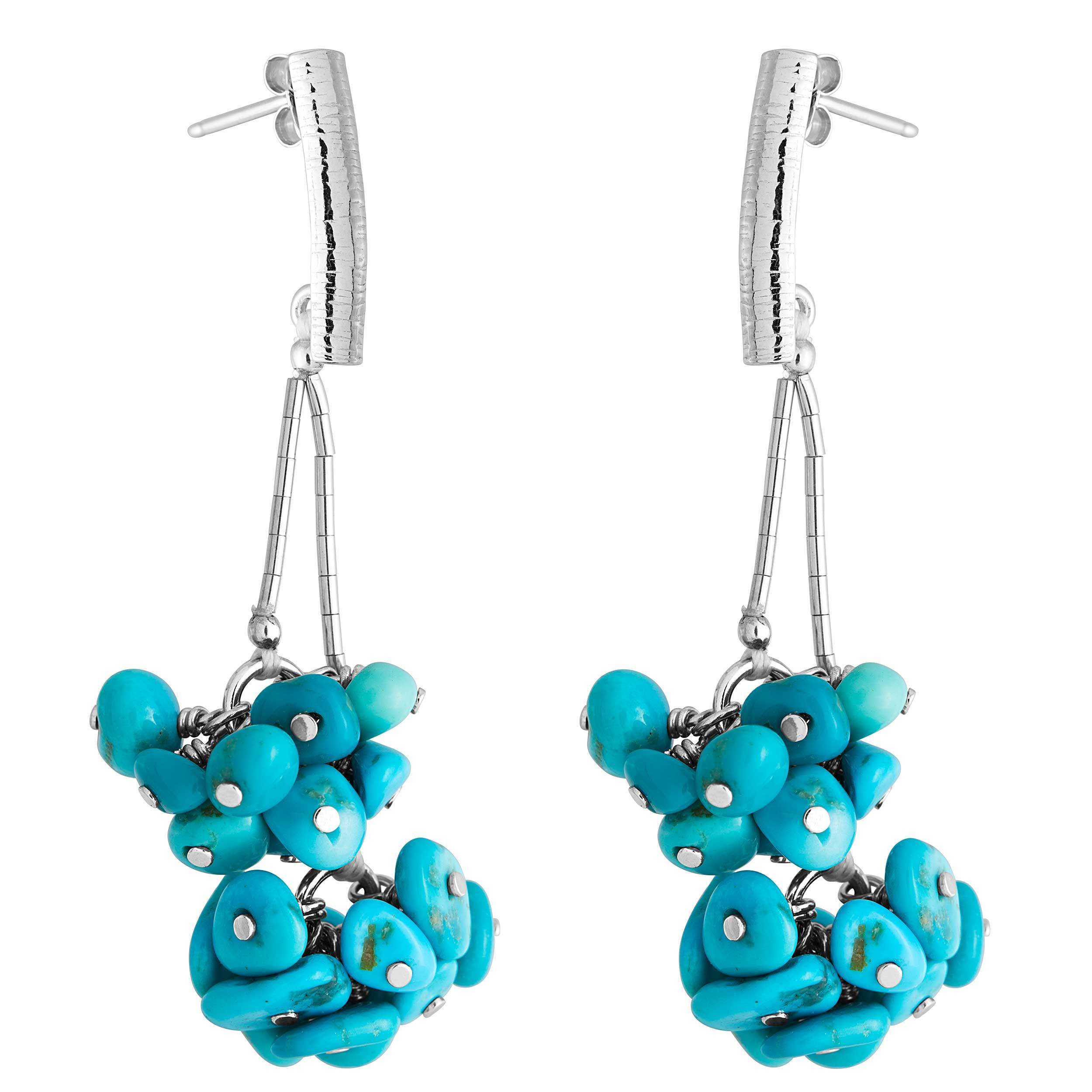 Sterling Silver Sleeping Beauty Turquoise Cluster Earring...