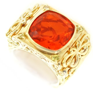 One-of-a-kind Michael Valitutti Fire Opal Doublet with Yellow Sapphire Cocktail Ring