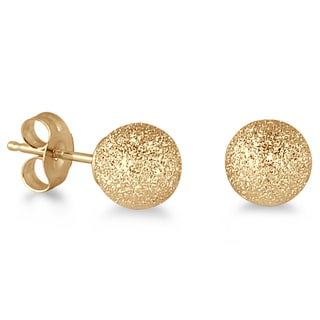Marquee Jewels 14K Yellow Gold Laser Cut Ball Stud Earrings