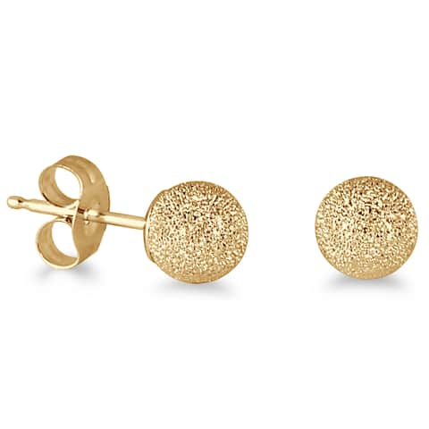 Marquee Jewels 14k Yellow Gold Laser-cut Ball Stud Earrings