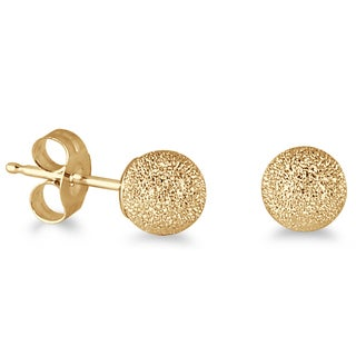 Marquee Jewels 14k Yellow Gold Laser-cut Ball Stud Earrings