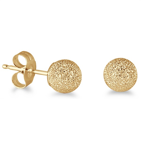 Marquee Jewels 14K Yellow Gold Laser Cut 4-millimeter Ball Stud Earrings