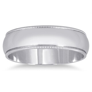 Marquee Jewels 14k White Gold 5-millimeter Milgrain Edge Comfort Fit Wedding Band