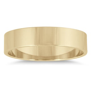 Marquee Jewels 14k Yellow Gold 4-millimeter Flat Wedding Band